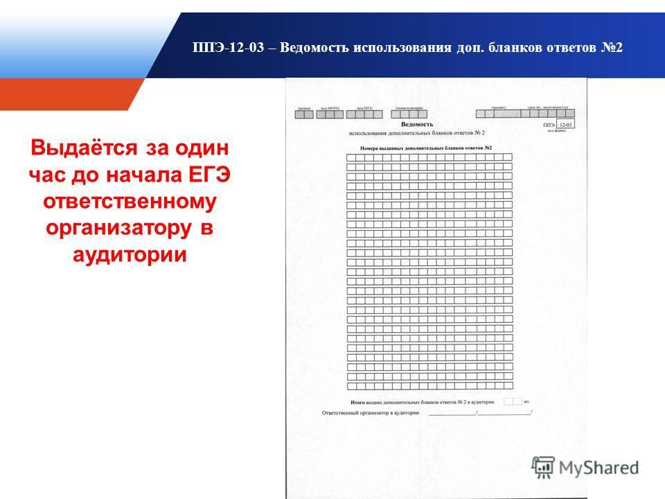ППЭ-12-03 – Ведомость использования доп. бланков ответов 2 Выдаётся за один час до начала ЕГЭ ответственному организатору в аудитории