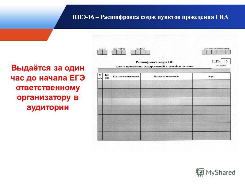 ППЭ-16 – Расшифровка кодов пунктов проведения ГИА Выдаётся за один час до начала ЕГЭ ответственному организатору в аудитории