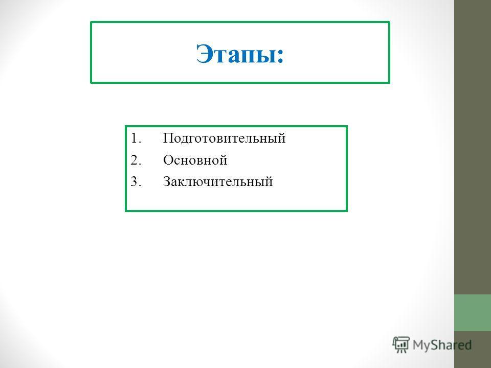 Этапы: 1.Подготовительный 2.Основной 3.Заключительный