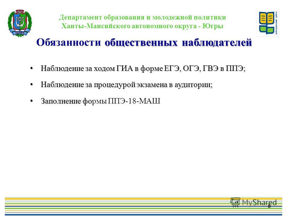 Департамент образования и молодежной политики Ханты-Мансийского автономного округа - Югры общественных наблюдателей Обязанности общественных наблюдателей 8 Наблюдение за ходом ГИА в форме ЕГЭ, ОГЭ, ГВЭ в ППЭ; Наблюдение за ходом ГИА в форме ЕГЭ, ОГЭ,