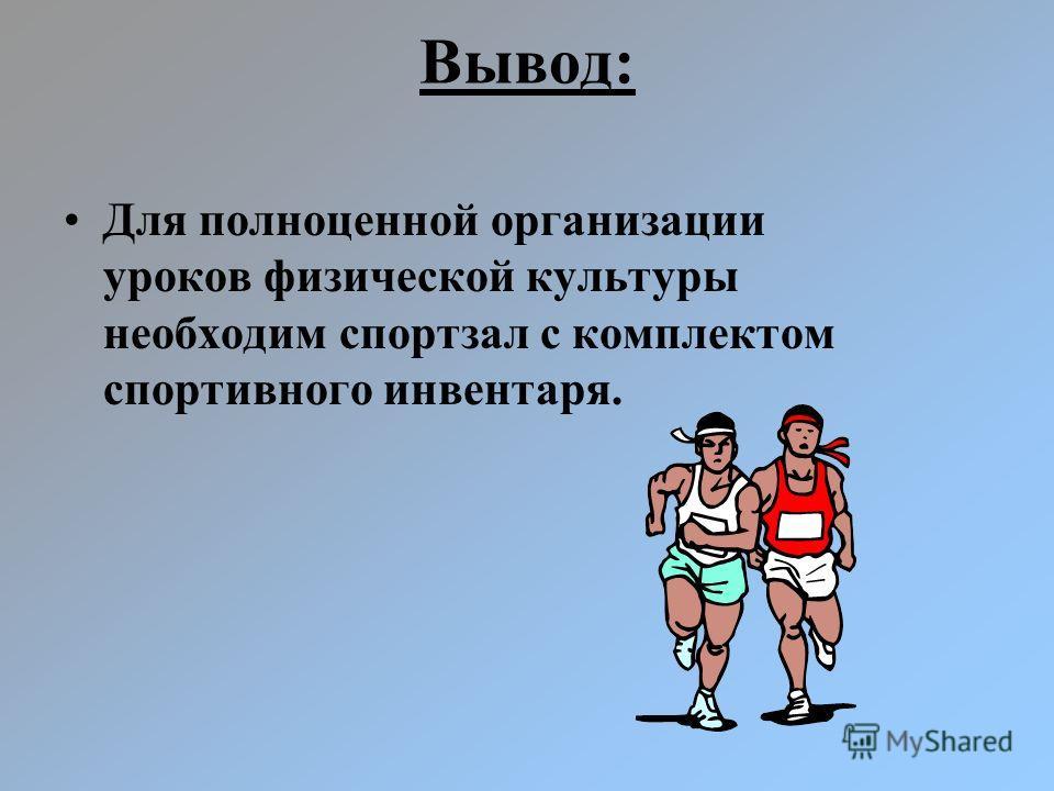 Вывод: Для полноценной организации уроков физической культуры необходим спортзал с комплектом спортивного инвентаря.