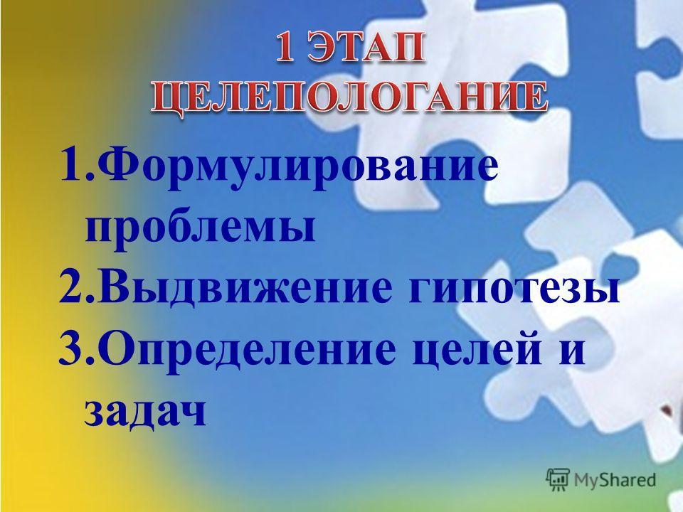 1.Формулирование проблемы 2.Выдвижение гипотезы 3.Определение целей и задач