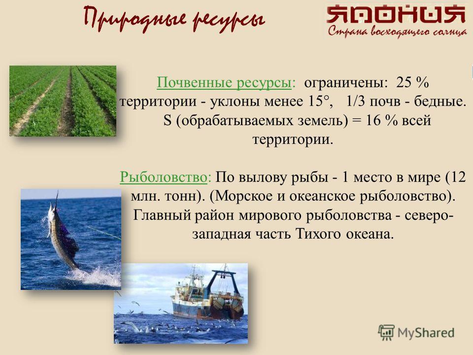 Почвенные ресурсы: ограничены: 25 % территории - уклоны менее 15°, 1/3 почв - бедные. S (обрабатываемых земель) = 16 % всей территории. Рыболовство: По вылову рыбы - 1 место в мире (12 млн. тонн). (Морское и океанское рыболовство). Главный район миро