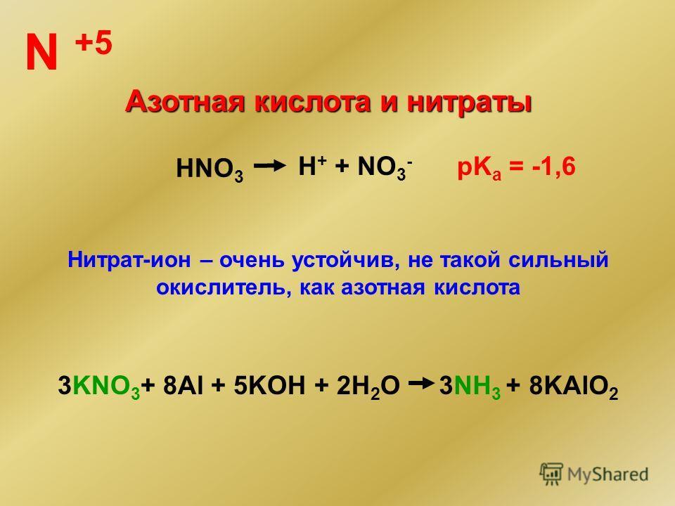 N +5 Азотная кислота и нитраты HNO 3 H + + NO 3 - pK a = -1,6 Нитрат-ион – очень устойчив, не такой сильный окислитель, как азотная кислота 3KNO 3 + 8Al + 5KOH + 2H 2 O3NH 3 + 8KAlO 2