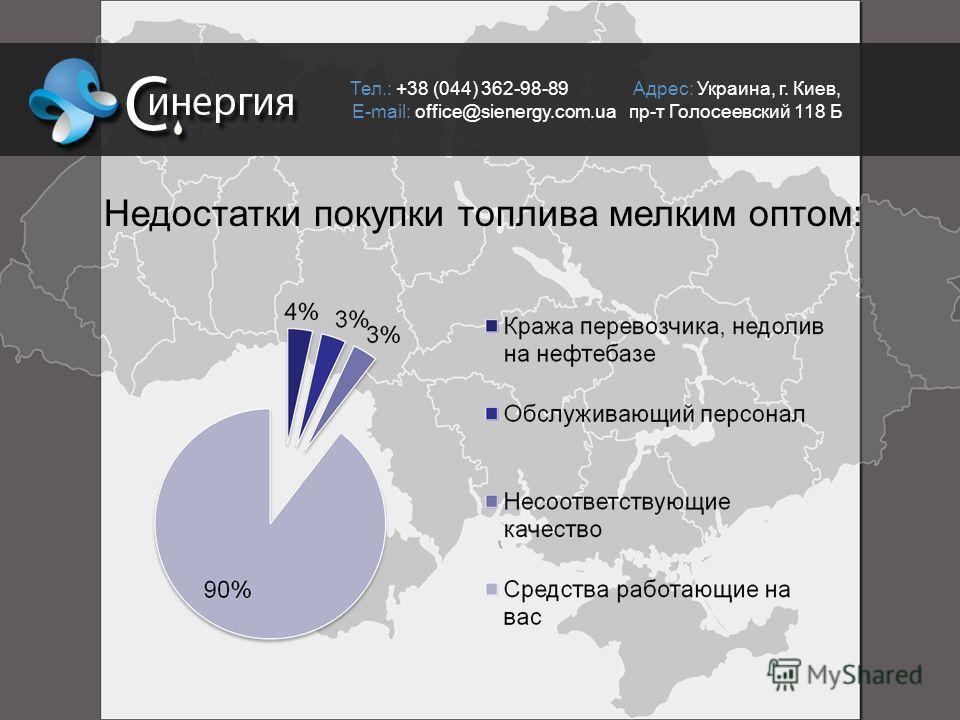 Недостатки покупки топлива мелким оптом: Тел.: +38 (044) 362-98-89 Адрес: Украина, г. Киев, E-mail: office@sienergy.com.ua пр-т Голосеевский 118 Б