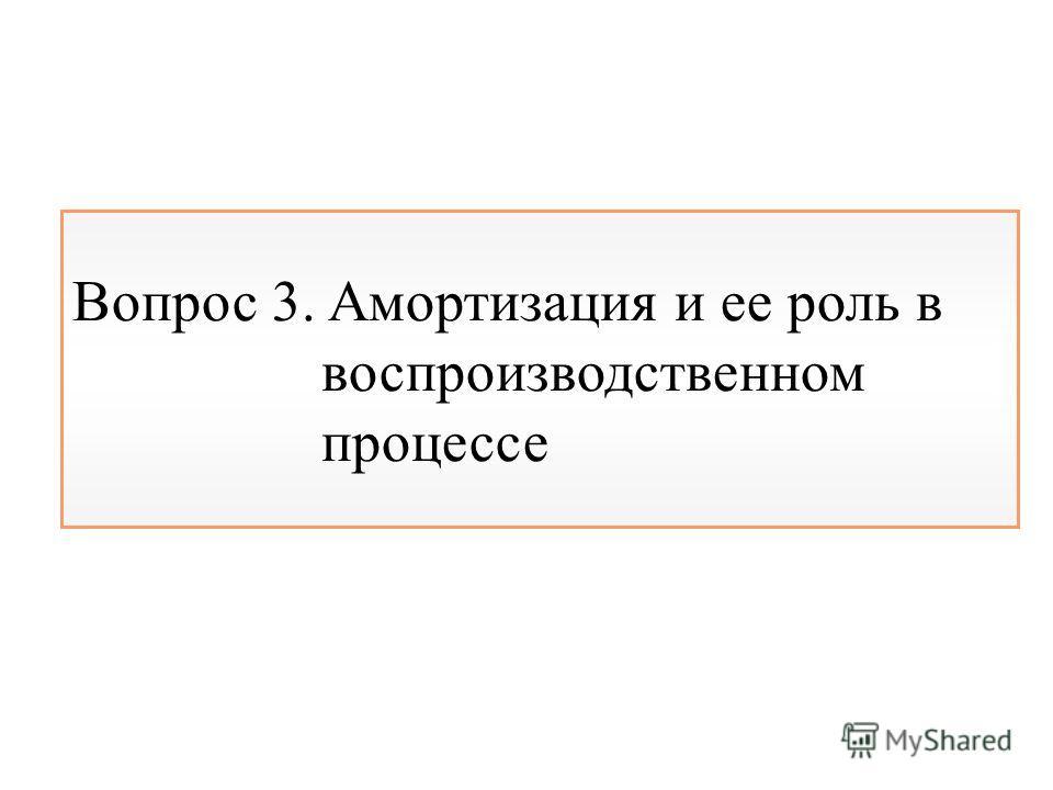 Вопрос 3. Амортизация и ее роль в воспроизводственном процессе