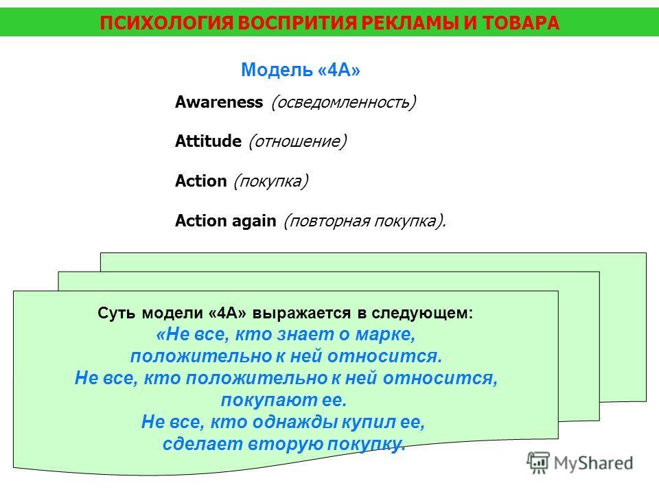 ПСИХОЛОГИЯ ВОСПРИТИЯ РЕКЛАМЫ И ТОВАРА Модель «4А» Awareness (осведомленность) Attitude (отношение) Action (покупка) Action again (повторная покупка). Суть модели «4А» выражается в следующем: «Не все, кто знает о марке, положительно к ней относится. Н