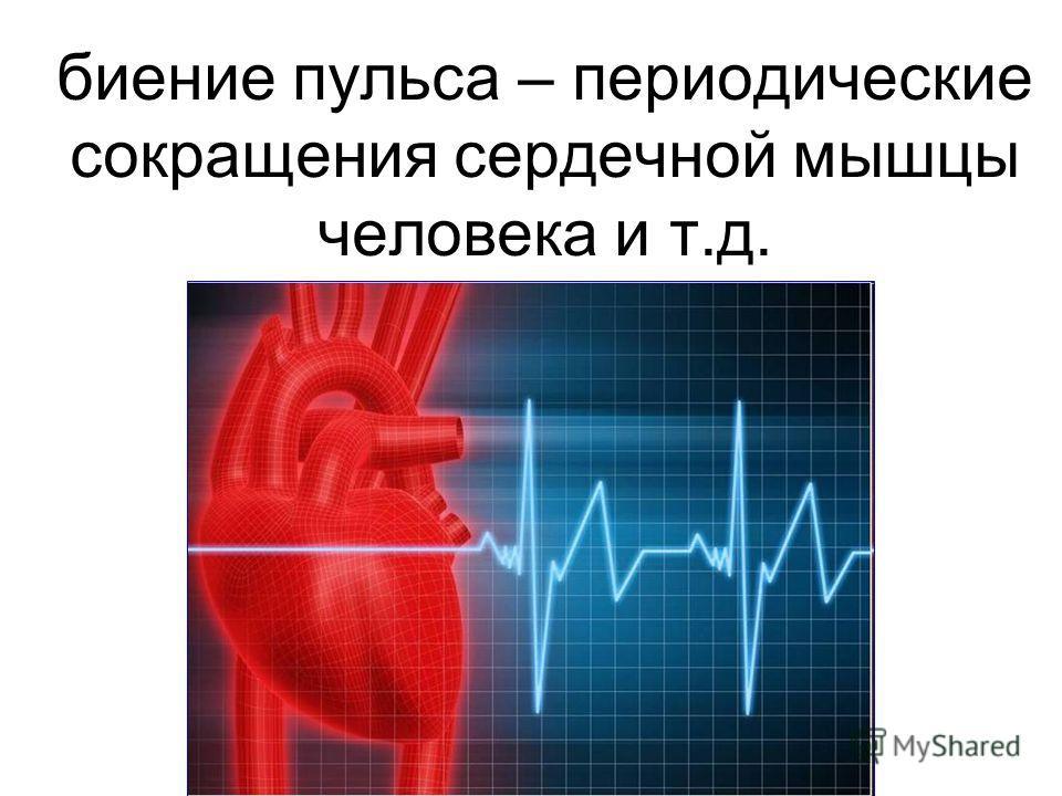 биение пульса – периодические сокращения сердечной мышцы человека и т.д.