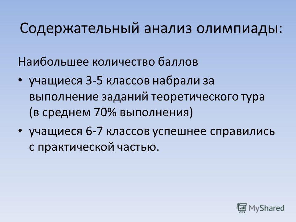 анализ олимпиады: