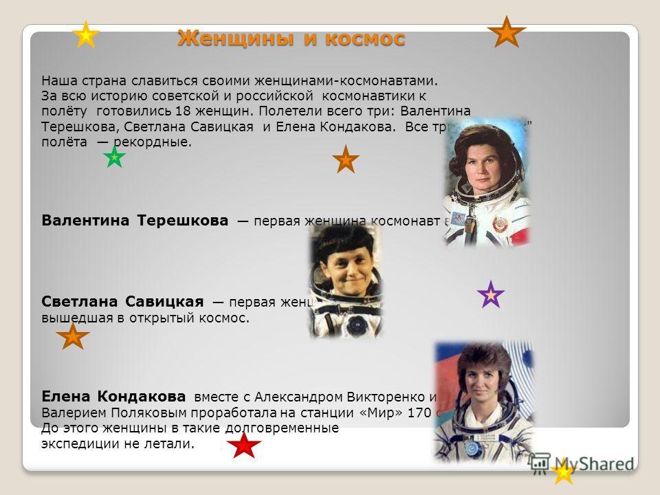 Женщины и космос Наша страна славиться своими женщинами-космонавтами. За всю историю советской и российской космонавтики к полёту готовились 18 женщин. Полетели всего три: Валентина Терешкова, Светлана Савицкая и Елена Кондакова. Все три