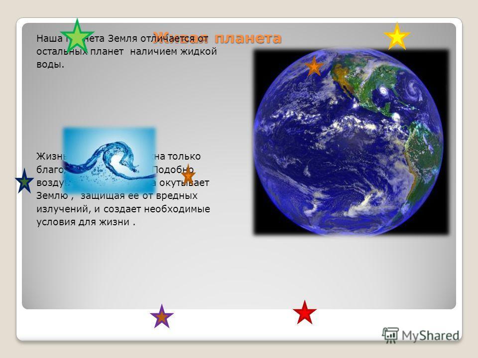 Живая планета Наша планета Земля отличается от остальных планет наличием жидкой воды. Жизнь на Земле возможна только благодаря атмосфере. Подобно воздушному одеялу, она окутывает Землю, защищая ее от вредных излучений, и создает необходимые условия д