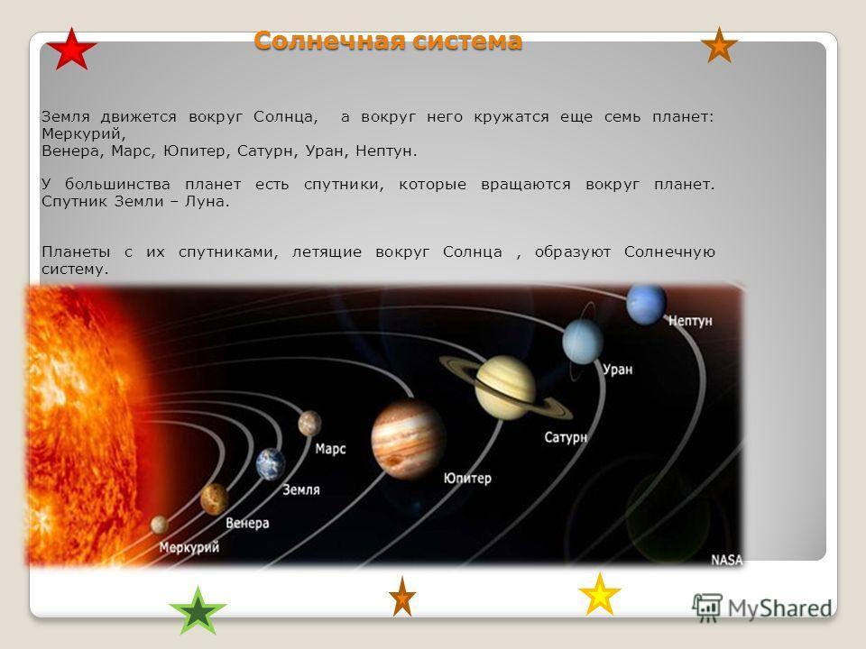 Солнечная система Земля движется вокруг Солнца, а вокруг него кружатся еще семь планет: Меркурий, Венера, Марс, Юпитер, Сатурн, Уран, Нептун. У большинства планет есть спутники, которые вращаются вокруг планет. Спутник Земли – Луна. Планеты с их спут