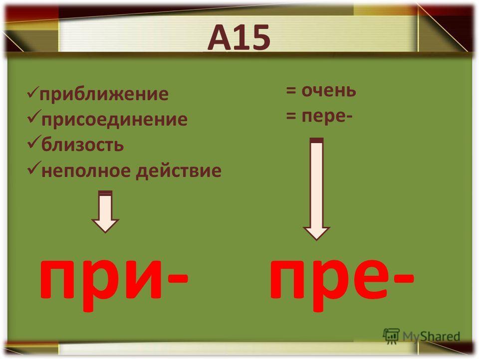 приближение присоединение близость неполное действие при- = очень = пере- пре-