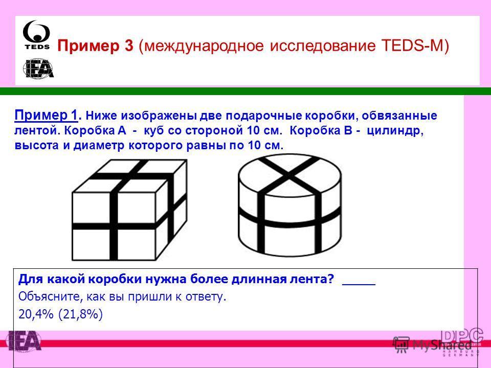 Пример 1. Ниже изображены две подарочные коробки, обвязанные лентой. Коробка A - куб со стороной 10 см. Коробка В - цилиндр, высота и диаметр которого равны по 10 см. Для какой коробки нужна более длинная лента? _____ Объясните, как вы пришли к ответ