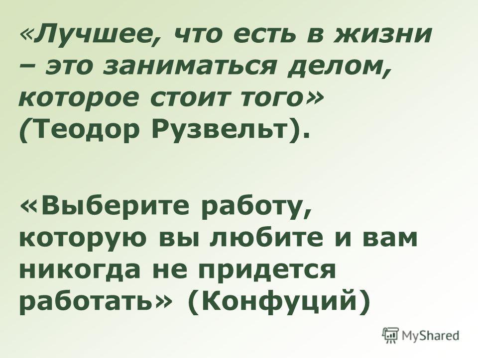 «Лучшее, что есть в жизни – это заниматься делом, которое стоит того» (Теодор Рузвельт). «Выберите работу, которую вы любите и вам никогда не придется работать» (Конфуций)