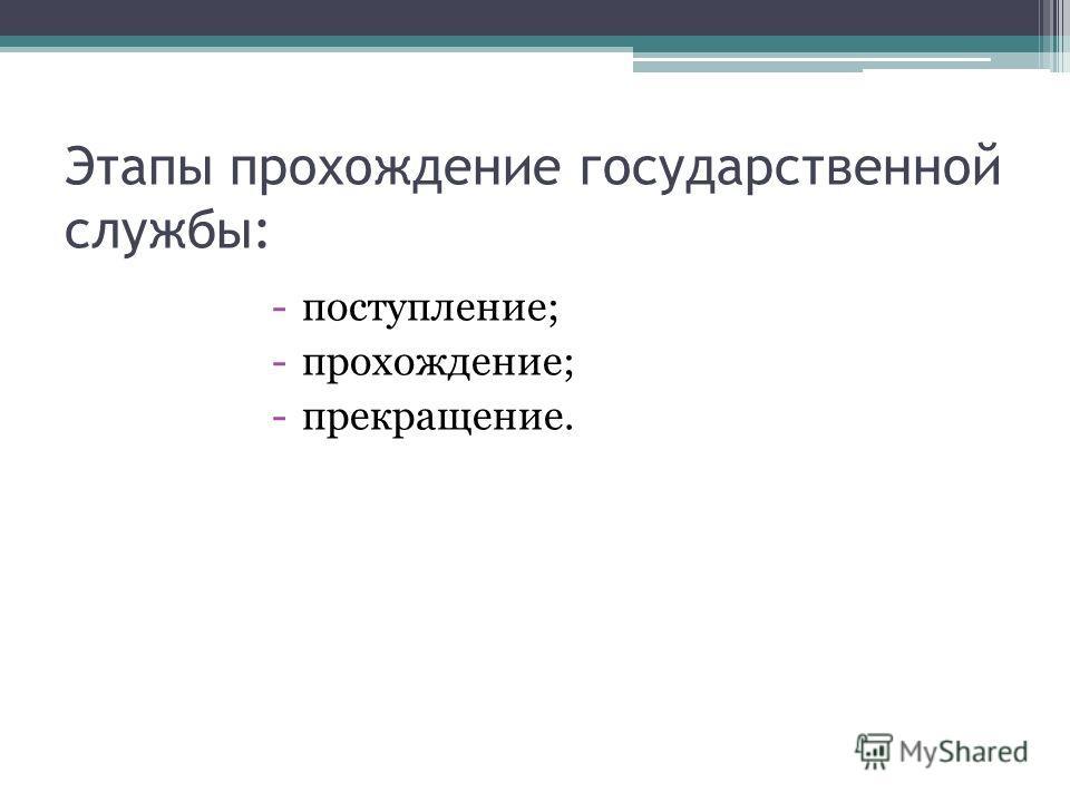 Этапы прохождение государственной службы: -поступление; -прохождение; -прекращение.