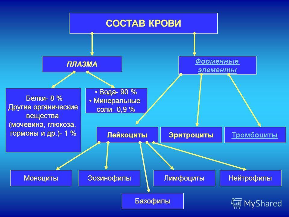 СОСТАВ КРОВИ ПЛАЗМА Форменные элементы ЛейкоцитыТромбоцитыЭритроциты Белки- 8 % Другие органические вещества (мочевина, глюкоза, гормоны и др.)- 1 % Вода- 90 % Минеральные соли- 0,9 % НейтрофилыЛимфоцитыЭозинофилыМоноциты Базофилы