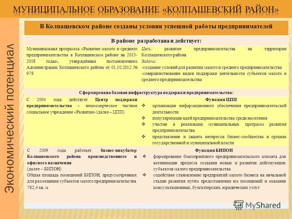 Экономический потенциал В Колпашевском районе созданы условия успешной работы предпринимателей В районе разработана и действует: Муниципальная программа «Развитие малого и среднего предпринимательства в Колпашевском районе на 2013- 2018 годы», утверж