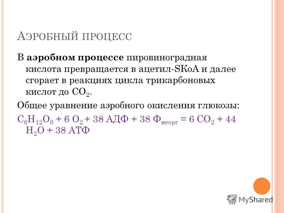 А ЭРОБНЫЙ ПРОЦЕСС В аэробном процессе пировиноградная кислота превращается в ацетил-SКоА и далее сгорает в реакциях цикла трикарбоновых кислот до СО 2. Общее уравнение аэробного окисления глюкозы: C 6 H 12 O 6 + 6 O 2 + 38 АДФ + 38 Ф неорг = 6 CO 2 +