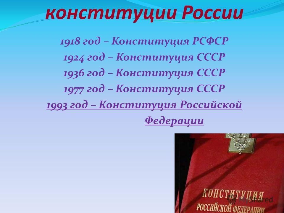 конституции России 1918 год – Конституция РСФСР 1924 год – Конституция СССР 1936 год – Конституция СССР 1977 год – Конституция СССР 1993 год – Конституция Российской Федерации