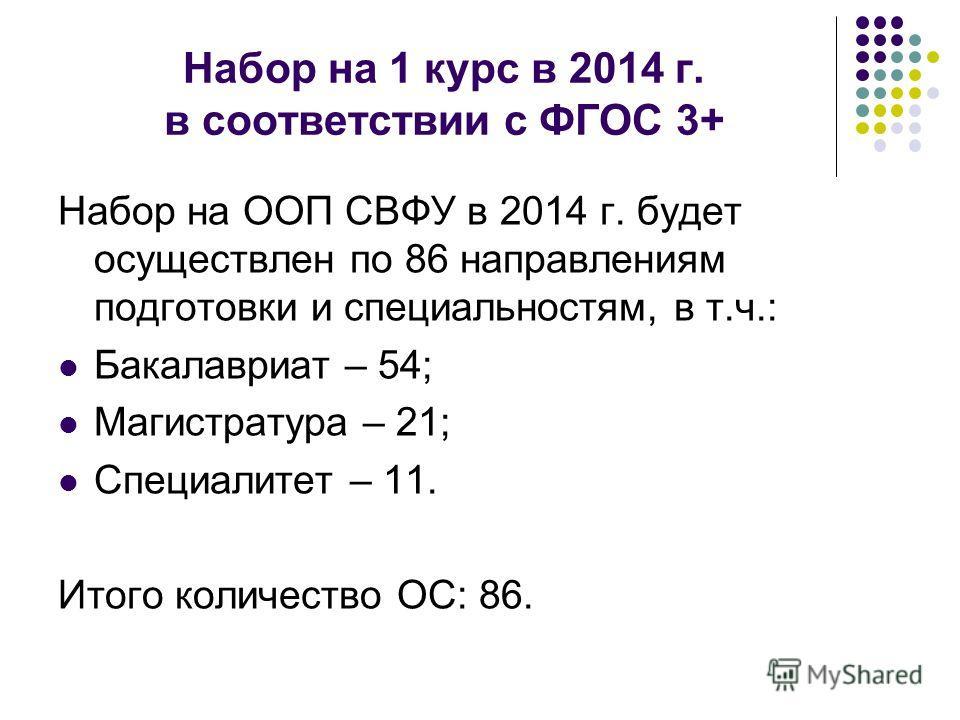 Набор на 1 курс в 2014 г. в соответствии с ФГОС 3+ Набор на ООП СВФУ в 2014 г. будет осуществлен по 86 направлениям подготовки и специальностям, в т.ч.: Бакалавриат – 54; Магистратура – 21; Специалитет – 11. Итого количество ОС: 86.
