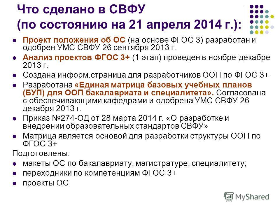 Что сделано в СВФУ (по состоянию на 21 апреля 2014 г.): Проект положения об ОС (на основе ФГОС 3) разработан и одобрен УМС СВФУ 26 сентября 2013 г. Анализ проектов ФГОС 3+ (1 этап) проведен в ноябре-декабре 2013 г. Создана информ.страница для разрабо