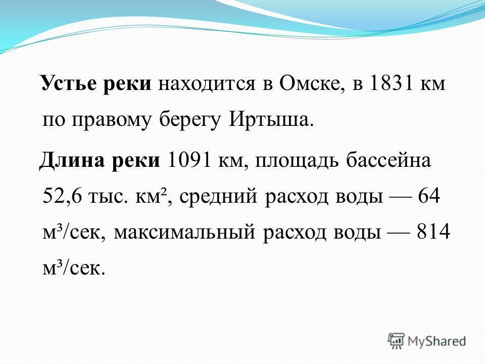 Устье реки находится в Омске, в 1831 км по правому берегу Иртыша. Длина реки 1091 км, площадь бассейна 52,6 тыс. км², средний расход воды 64 м³/сек, максимальный расход воды 814 м³/сек.