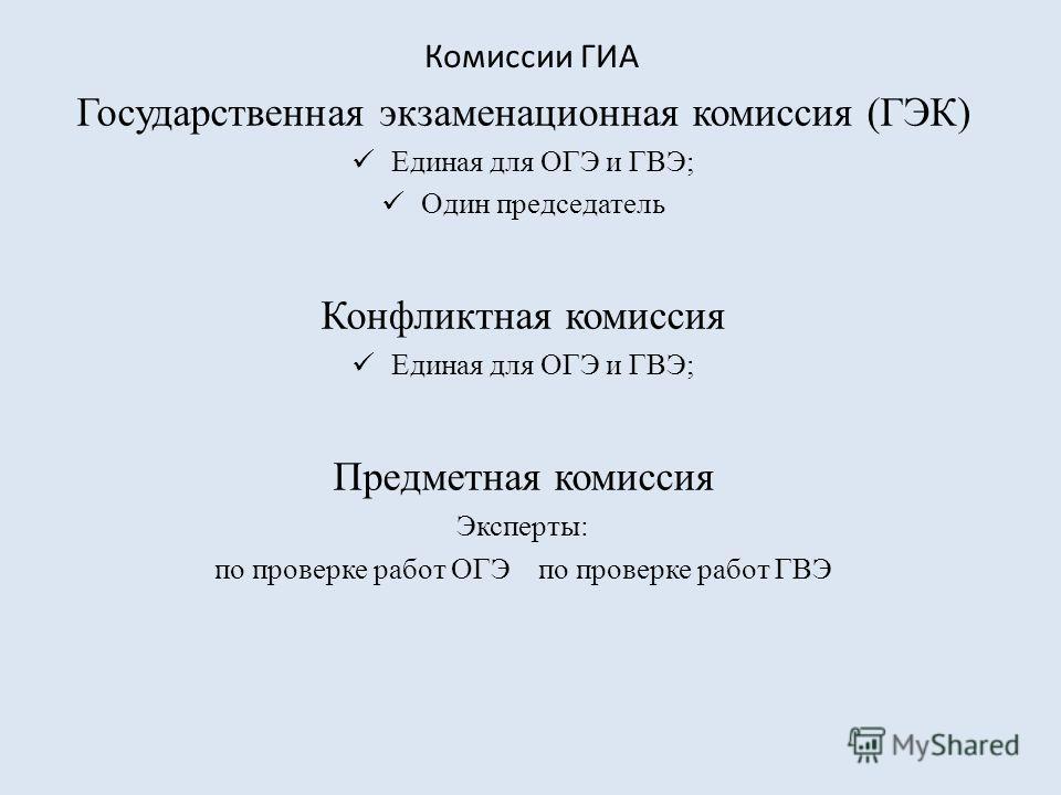 Комиссии ГИА Государственная экзаменационная комиссия (ГЭК) Единая для ОГЭ и ГВЭ; Один председатель Конфликтная комиссия Единая для ОГЭ и ГВЭ; Предметная комиссия Эксперты: по проверке работ ОГЭ по проверке работ ГВЭ
