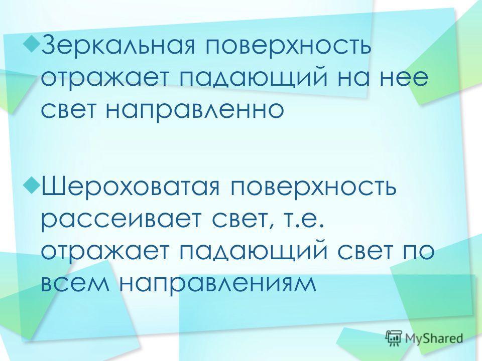 Зеркальная поверхность отражает падающий на нее свет направленно Шероховатая поверхность рассеивает свет, т.е. отражает падающий свет по всем направлениям