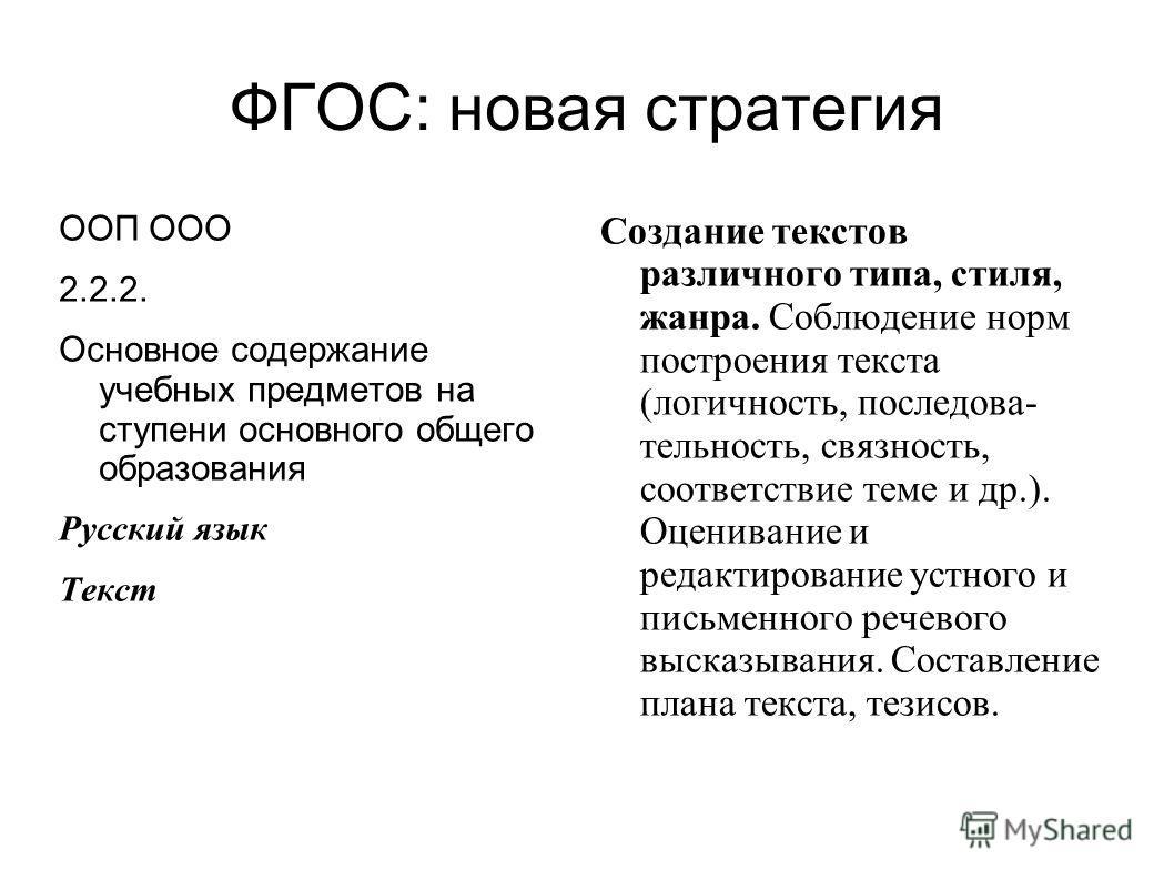 ФГОС: новая стратегия ООП ООО 2.2.2. Основное содержание учебных предметов на ступени основного общего образования Русский язык Текст Создание текстов различного типа, стиля, жанра. Соблюдение норм построения текста (логичность, последова- тельность,