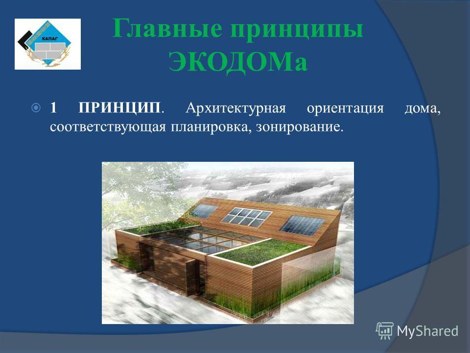 Главные принципы ЭКОДОМа 1 ПРИНЦИП. Архитектурная ориентация дома, соответствующая планировка, зонирование.