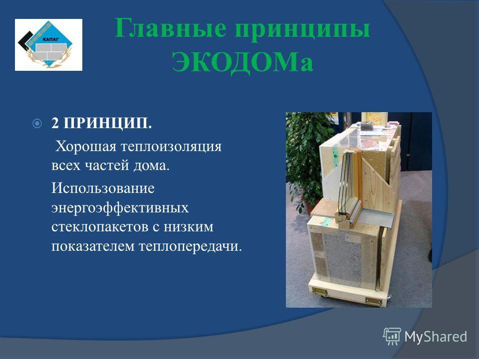 2 ПРИНЦИП. Хорошая теплоизоляция всех частей дома. Использование энергоэффективных стеклопакетов с низким показателем теплопередачи. Главные принципы ЭКОДОМа