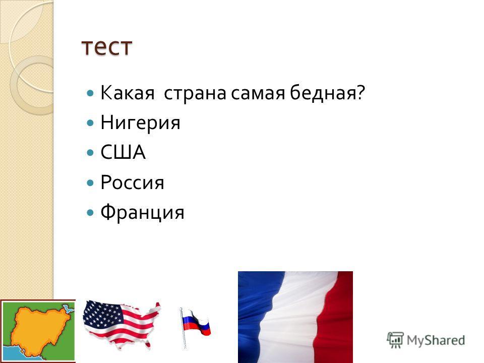 тест Какая страна самая бедная ? Нигерия США Россия Франция