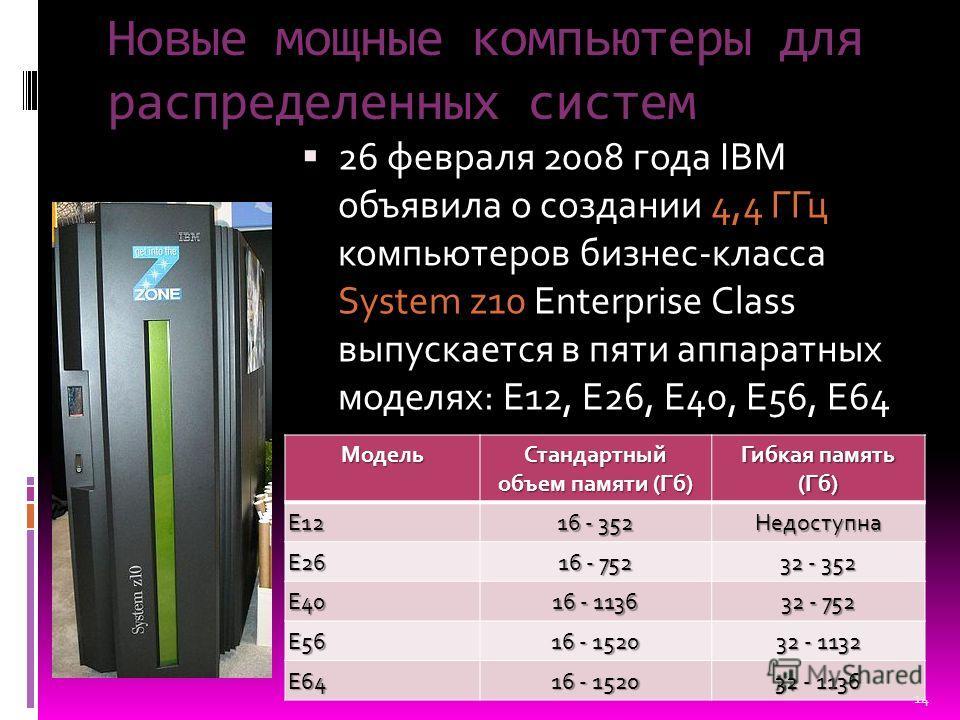 Новые мощные компьютеры для распределенных систем 26 февраля 2008 года IBM объявила о создании 4,4 ГГц компьютеров бизнес-класса System z10 Enterprise Class выпускается в пяти аппаратных моделях: E12, E26, E40, E56, E64Модель Стандартный объем памяти