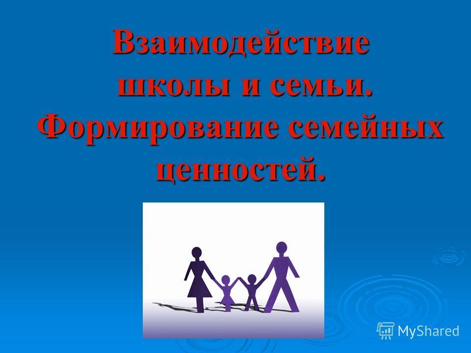 Взаимодействие школы и семьи. Формирование семейных ценностей.