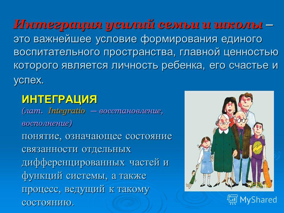 ИНТЕГРАЦИЯ (лат. Integratio восстановление, восполнение) понятие, означающее состояние связанности отдельных дифференцированных частей и функций системы, а также процесс, ведущий к такому состоянию. Интеграция усилий семьи и школы – это важнейшее усл