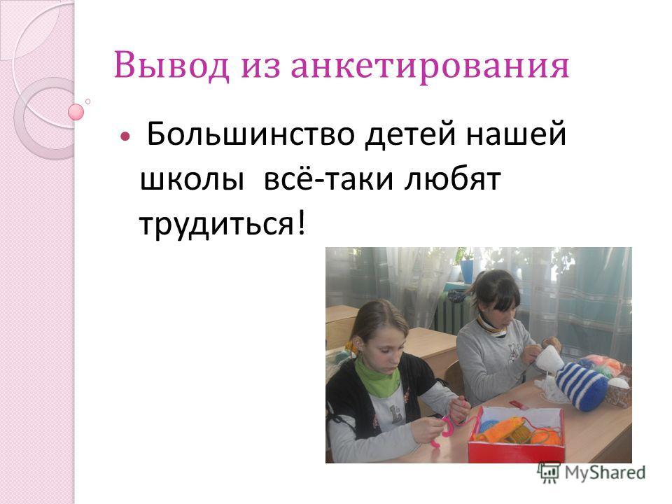 Вывод из анкетирования Большинство детей нашей школы всё-таки любят трудиться!