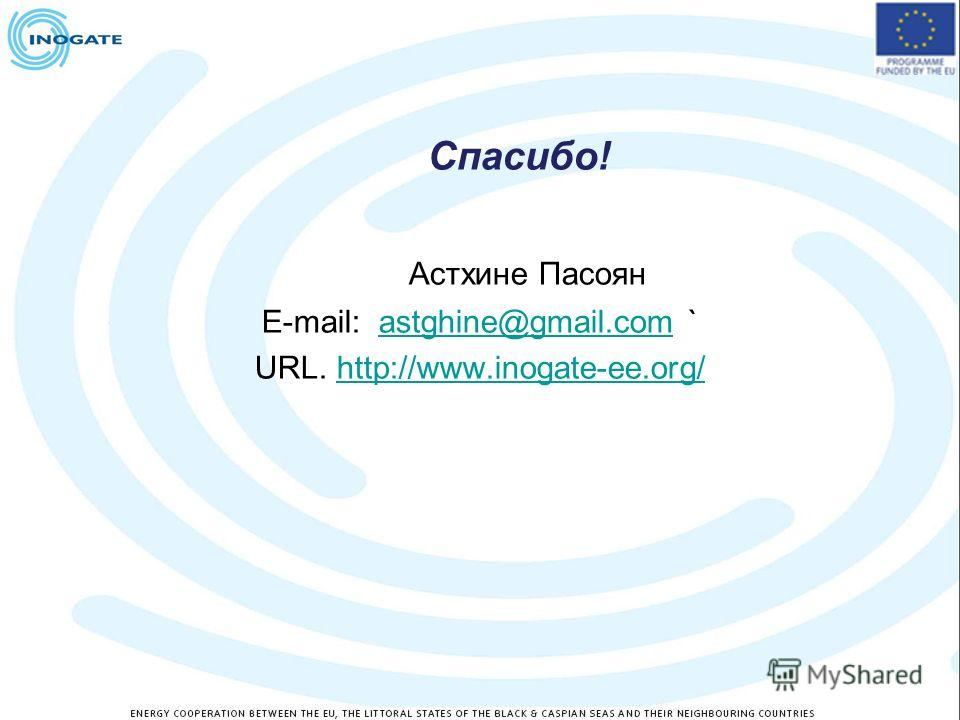 Спасибо! Астхине Пасоян E-mail: astghine@gmail.com `astghine@gmail.com URL. http://www.inogate-ee.org/http://www.inogate-ee.org/
