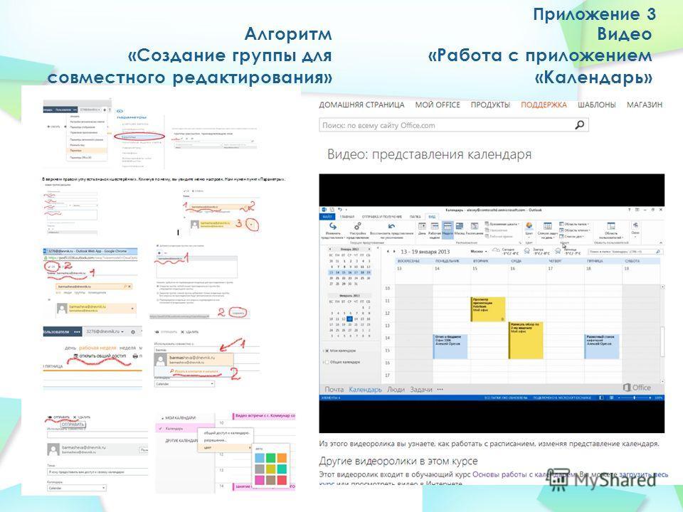 Приложение 3 Алгоритм «Создание группы для совместного редактирования» Видео «Работа с приложением «Календарь»