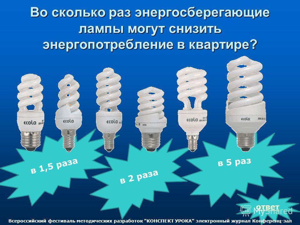 Во сколько раз энергосберегающие лампы могут снизить энергопотребление в квартире? в 1,5 раза в 2 раза ответ в 5 раз Всероссийский фестиваль методических разработок КОНСПЕКТ УРОКА электронный журнал Конференц-зал