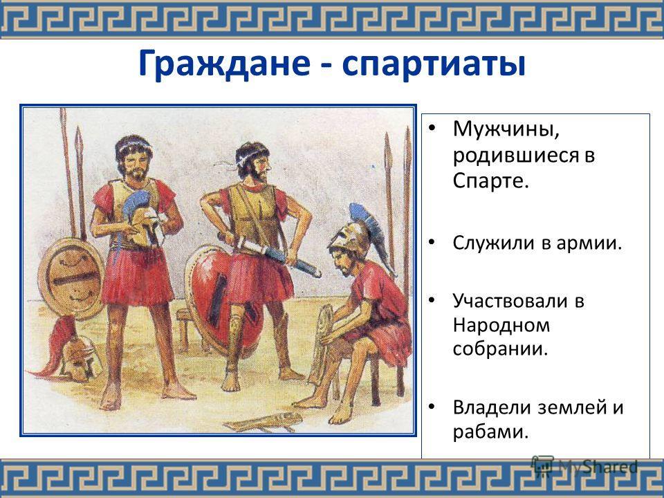 Граждане - спартиаты Мужчины, родившиеся в Спарте. Служили в армии. Участвовали в Народном собрании. Владели землей и рабами.