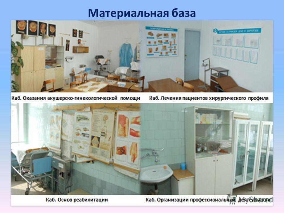 Материальная база Имеется специализированные кабинеты: - Организации профессиональной деятельности; - Информационных технологий в профессиональной деятельности; - Общественного здоровья и здравоохранения; - Основ профилактики; - Основ реабилитации; -