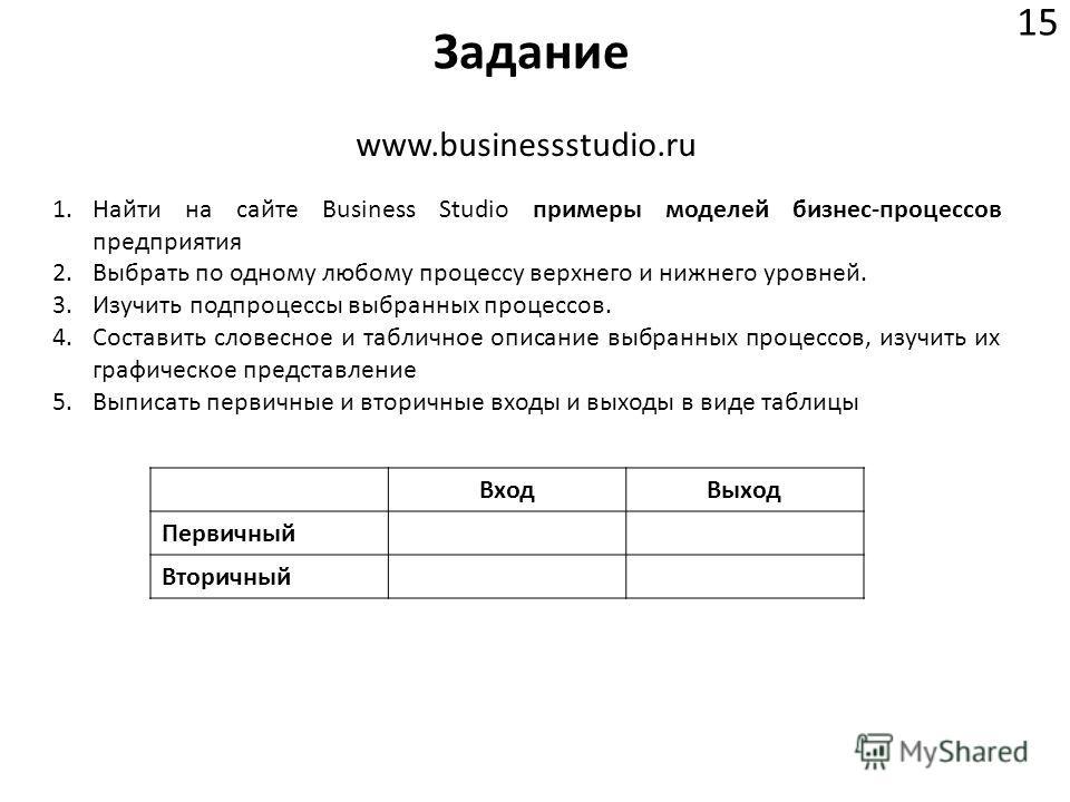 Задание 15 www.businessstudio.ru 1.Найти на сайте Business Studio примеры моделей бизнес-процессов предприятия 2.Выбрать по одному любому процессу верхнего и нижнего уровней. 3.Изучить подпроцессы выбранных процессов. 4.Составить словесное и таблично