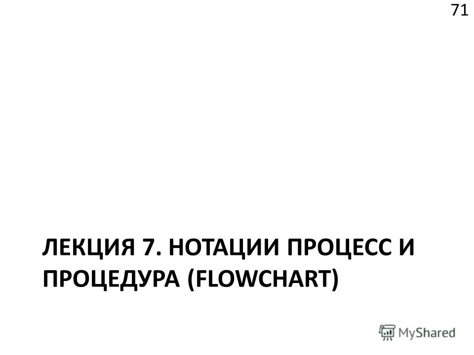 ЛЕКЦИЯ 7. НОТАЦИИ ПРОЦЕСС И ПРОЦЕДУРА (FLOWCHART) 71