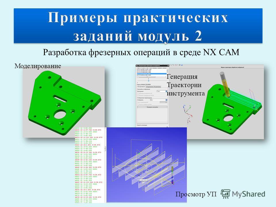 Разработка фрезерных операций в среде NX CAM Моделирование Генерация Траектории инструмента Просмотр УП