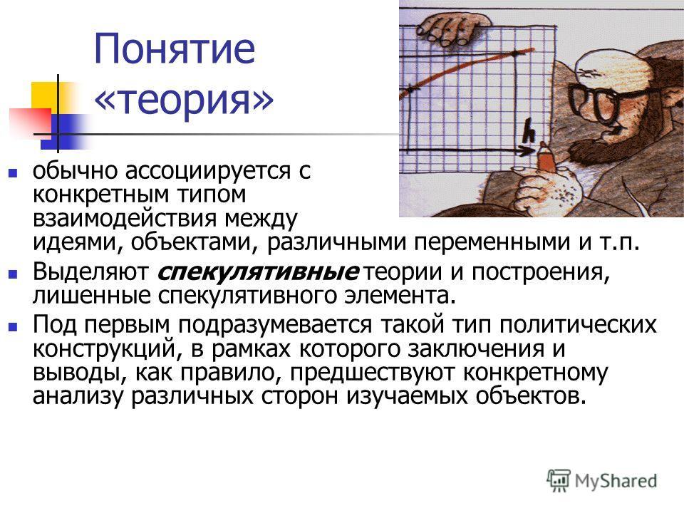 Понятие «теория» обычно ассоциируется с конкретным типом взаимодействия между идеями, объектами, различными переменными и т.п. Выделяют спекулятивные теории и построения, лишенные спекулятивного элемента. Под первым подразумевается такой тип политиче