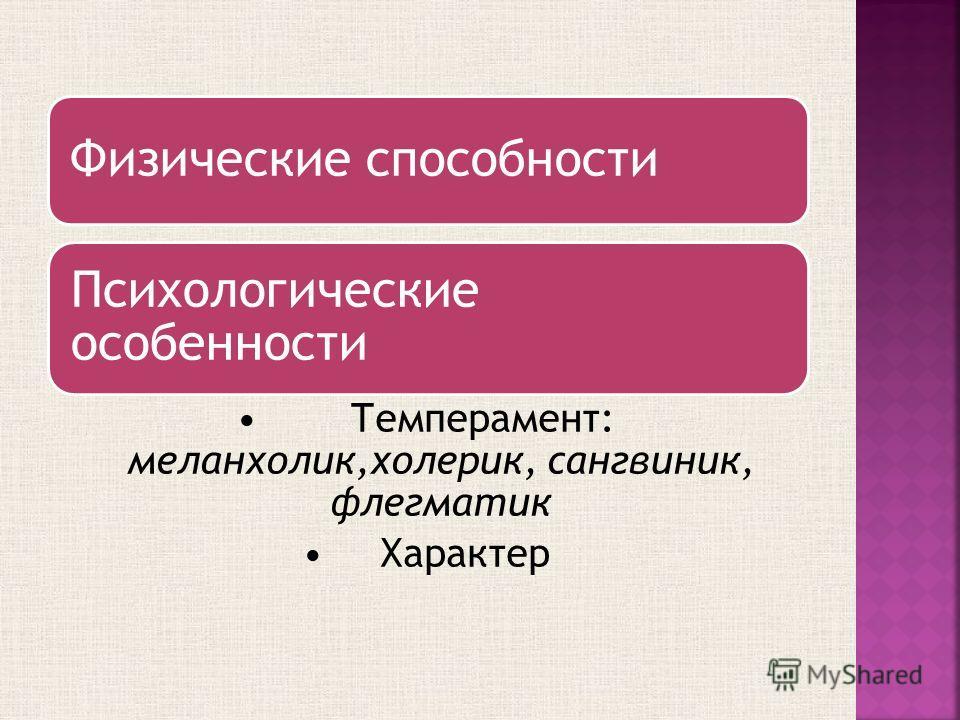 Физические способности Психологические особенности Темперамент: меланхолик,холерик, сангвиник, флегматик Характер
