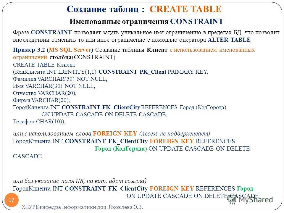 Создание таблиц : CREATE TABLE Именованные ограничения CONSTRAINT Фраза CONSTRAINT позволяет задать уникальное имя ограничению в пределах БД, что позволит впоследствии отменить то или иное ограничение с помощью оператора ALTER TABLE Пример 3.2 (MS SQ