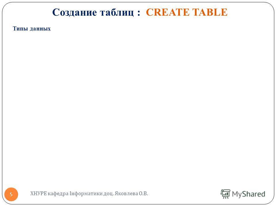 Создание таблиц : CREATE TABLE Типы данных ХНУРЕ кафедра Інформатики доц. Яковлева О. В. 5