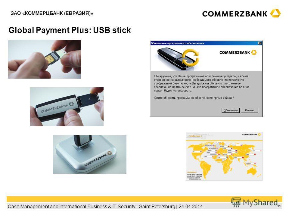 11 Cash Management and International Business & IT Security | Saint Petersburg | 24.04.2014 ЗАО «КОММЕРЦБАНК (ЕВРАЗИЯ)» Global Payment Plus: USB stick